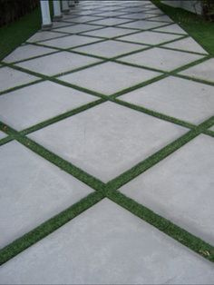 The 2 Minute Gardener: Photo - Concrete Pathway Accented with Field Turf Use for. The 2 Minute Gar Outdoor Walkway, Paver Walkway, Backyard Patio, Backyard Landscaping, Walkways, Backyard Ideas, Landscaping Ideas, Grass Driveway Pavers, Permeable Driveway