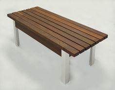 "48"" X 21"" X 18""H Ipe Wood and Aluminum Bench"