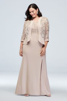 Two-Piece Set with Jacket and Ruched Bodice Dress Style 3785 Champagne 14 Mother Of The Bride Plus Size, Mother Of The Bride Gown, Mother Of Groom Dresses, Bride Groom Dress, Bride Gowns, Mother Of The Bride Fashion, Plus Size Cocktail Dresses, Plus Size Dresses, Plus Size Gowns Formal