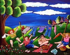 Laundry Day Divas Wine Fun Folk Art