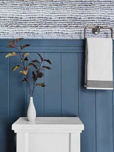 "Simplicity on the lower half, party on the upper. Wallpaper Paint color ""Waterloo"" design by and EHD design team ( + single branch styled by Navy Blue Bathrooms, Navy Bathroom, Kid Bathroom Decor, Bathroom Wall Lights, Bathroom Inspo, Bathroom Ideas, Powder Room Paint, Blue Powder Rooms, Mickey Bathroom"