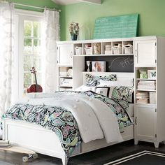 unique bed shelves for girls room | Shared Bed with Open Shelves Headboard in Teen Girls Bedroom Design ...