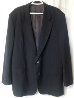 Mens Sport Coat Louis Feraud 50L Navy Blue Pinstripe 2 Button Jacket Wool Vent #LouisFraud #TwoButton