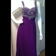Purple Beaded Formal Gown.
