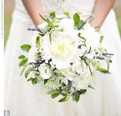 White And Purple Bouquet of Lavender, Peonies, Dahlias, Lisianthus, and Stars of Bethlehem.