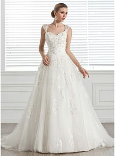 Ball-Gown Sweetheart Court Train Tulle Wedding Dress With Beading Appliques Lace Flower(s)