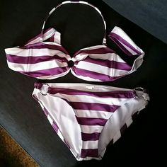 LIKE NEW White & Purple Stripped Bikini Worn once, maybe. Great condition. Lightly lined top, size L comes with removable pads and around the neck strap. Bottoms have textured silver rings on side, size XL. No fading or stains. Mossimo Supply Co Swim Bikinis