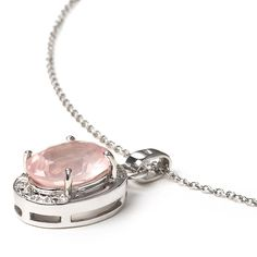 GoExclusif - Women's Pendant Necklace 925 Sterling Silver Genuine Rose Quartz. rhodium-plated-silver. genuine gemstones. handmade. supplied with jewelry box. product guarantee.