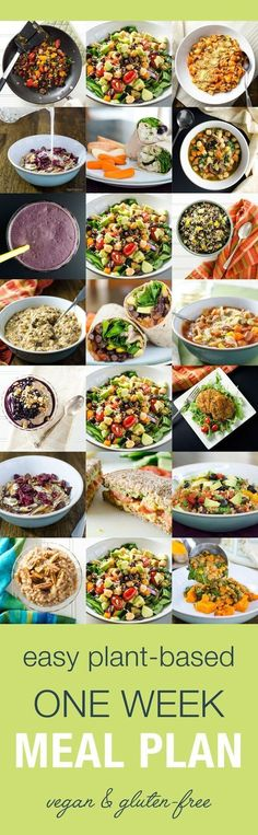 This easy one-week plant-based meal plan helps you stay healthy when you don't have time to cook. The gluten-free vegan recipes feature simple ingredients. https://www.pinterest.com/pin/223983781451948181/