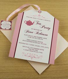 DIY Tea Party invitation from #DownloadandPrint. Cute tea bag cutout, perfect for a bridal shower. http://www.downloadandprint.com/templates/tea-party-tea-bag-invitation/
