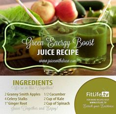 The Green Energy Boost  Did you lack enough sleep? Need something to back you up? This juice is the right fit for that! This is loaded with vitamins and energy boosters to keep you on the go.. Try this now #apple #celery #ginger #cucumber #kale #spinach