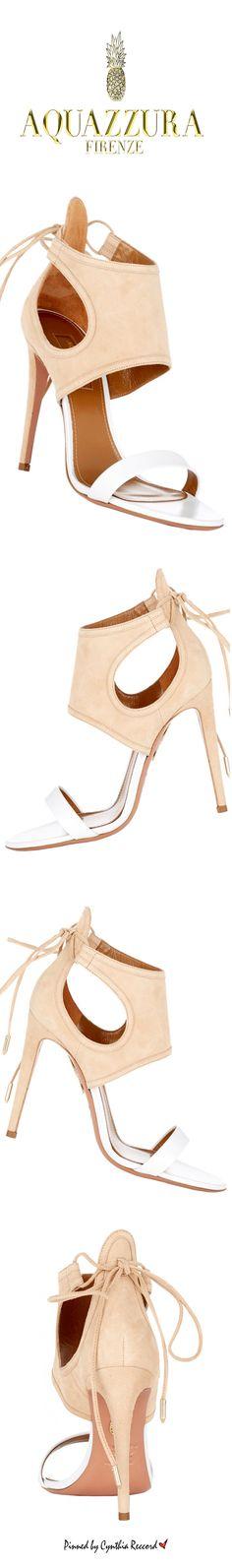 Aquazzura ~ White Leather + Tan Suede Sandals for Fall 2015 / cynthia reccord