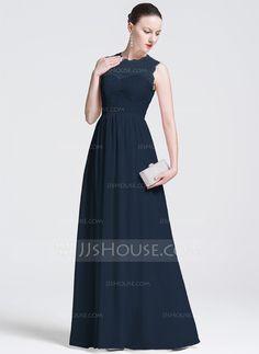 A-Line/Princess Scoop Neck Floor-Length Chiffon Evening Dress (017075008)