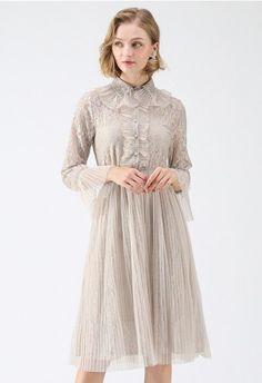 337f372e1c0 Enchanted Fairytale Lace Mesh Dress in Cream - NEW ARRIVALS - Retro