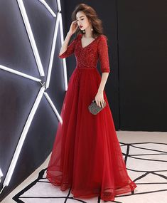 Burgundy tulle beads long prom dress, burgundy tulle evening dress Material: tulle Size: US US US US US US 12 US 2 Shoulder to US 4 Shoulder to Lace Summer Dresses, Sweet 16 Dresses, White Dress Summer, Lace Dress, Evening Dresses, Tulle Lace, Gala Dresses, Bridal Dresses, Gowns