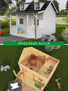 Kinder im Garten: Ein eigenes Haus in Miniaturvariante – das Spielhaus Alicia ist ein Traum für jedes Kind. Ob als überdimensionales Puppenhaus oder als Rückzugsort zum Lesen. Das sind die eigenen vier Wände ihres Kindes. Und ein netter Nebeneffekt: Es wird zum Hingucker in Ihrem Garten! Jetzt zugreifen! #SpielhausimGarten #SpielhausimFreien Outdoor Living, Outdoor Decor, Shed, Outdoor Structures, Kids, House, Home Decor, Patio, Playhouse Outdoor