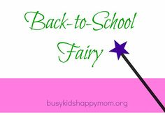 Sweet Back-to-School Tradition.  Introduce the Back-to-School Fairy.  This is great for the Preschool - 2nd grade teacher to have out at meet the teacher.  Glitter and printable poem.