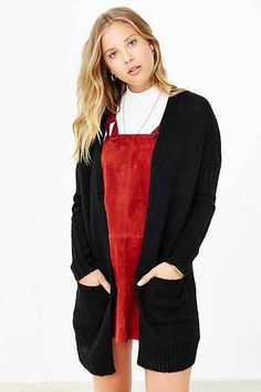 Silence + Noise Ribbed-Sleeve Open-Front Cardigan