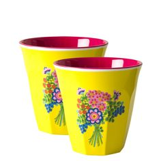 Rice DK Melamine Cups | Set of 2 Yellow Flower Bouquet Print