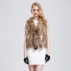 Luxurious Real Rabbit and Raccoon Fur Vest Short Fur Waistcoat Warm By Hand Wovened For Women $220.02