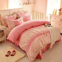 Sweet Pink Polka Dot Print Fairy Bedding Set,Delicate Korean Ruffed Bed Sheet Set,Modern Girls Princess Bedding