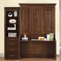 natanielle full murphy bed with desk and storage cabinet in walnut by mdh - Murphy Bed With Desk