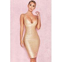 'Iman'  Metallic Gold Cross Bust Bandage Dress