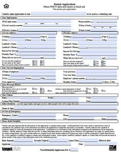 rental application document