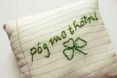 St. Patrick's Day Note Embroidered Pillow by turnipmims, $25.00