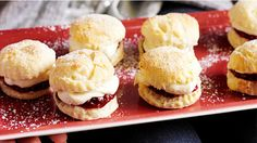 Mini scones with raspberry jam and vanilla bean mascarpone