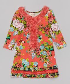 Look at this Coral Floral Rosette Dress - Toddler