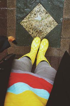 Puddle ready.   Bit by Bon   Rain Boots. Boston. Copley Square. Umbrella.