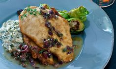 Try this recipe! We've taken some southern staples and engineered an eloquent dinner based on the flavors of the Mediterranean. First, House-Autry Grits, re-thought with mint as a base for wonderful chicken cutlets breaded in House-Autry's Sweet Cornbread Mix. Top it with a vinaigrette whisked with lemon, olives, and capers, emulsified with a little House-Autry Honey Mustard, and the result is perfection Sweet Cornbread, Cornbread Mix, Yummy Chicken Recipes, Yum Yum Chicken, Mediterranean Chicken, Chicken Cutlets, Honey Mustard, Grits, Vinaigrette
