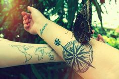 compass, amore quote, world map tattoo