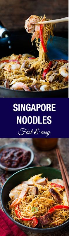 Singapore Noodles - fast and easy to make, use whatever meat and veg you have on hand!