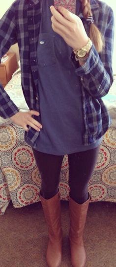VS flannel over button up jean flannel + scarf