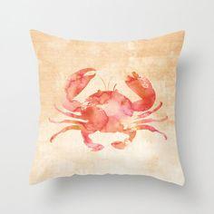 Crab Pillow Case, Nautical Home Decor, Beach Art, Nursery Art, Crab Pillow Cover, Decorative Pillow Case, Watercolor Crab Pillow, Sealife