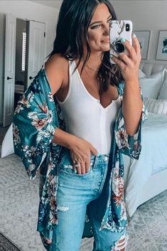 'love in your eyes floral kimono' 'krista white bodysuit' Boho Fashion, Fashion Beauty, Fashion Outfits, Fashion Tips, Fashion Trends, Gothic Fashion, Steampunk Fashion, Modest Fashion, Hijab Fashion