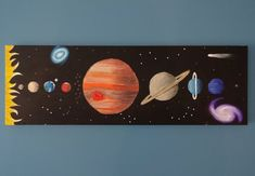 Items similar to Solar System Art Space Painting Kids Art Outer Space Art Planet Painting Boys Room Art - Original Canvas Painting on Etsy Space Painting, Galaxy Painting, Painting For Kids, Art For Kids, Painting Art, Paintings, Solar System Painting, Solar System Art, Sistema Solar