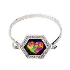 Rainbow Paint Splatter Heart Hexagon Bracelet #inspiredsilver #rainbowheart #colorful #jewelry