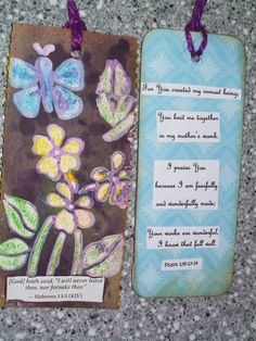 Mixed media bookmarks with Scripture to be given at an eating disorder clinic to share the Gospel message.