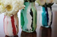 drip paint mason jar vase
