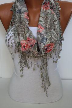 Floral Shawl/ Scarf  Headband  Cowl with Trim Edge by DIDUCI, $15.00