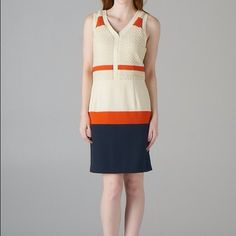 C. Luce White Colorblock Dress - sizes S, M, L Orange, white, and blue colorblock sweater knit dress. Length from shoulders to hem - 37 inches. Available in sizes small, medium, and large! ModCloth Dresses