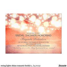string lights shine romantic pretty bridal shower personalized invitation