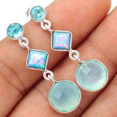 Aqua-Chalcedony-925-Sterling-Silver-Earrings-Jewelry-SE108381