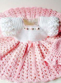 Crochet white and pink ruffled |