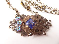 Butterfly Beaded Filigree Necklace Bronze Jewelry by AurielaDesign