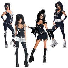 FM Damen Kostüm Rock/'n Roll Rock rot-schwarz Karneval