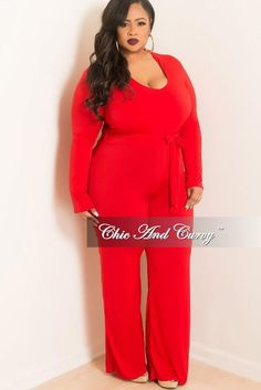 d2e08f4ceaa7 Final Sale Plus Size Jumpsuit with Attached Tie in Red. Big Girl Fashion Curvy ...